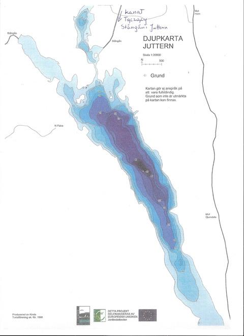 Mapa głębokościowa jeziora w Szwecji